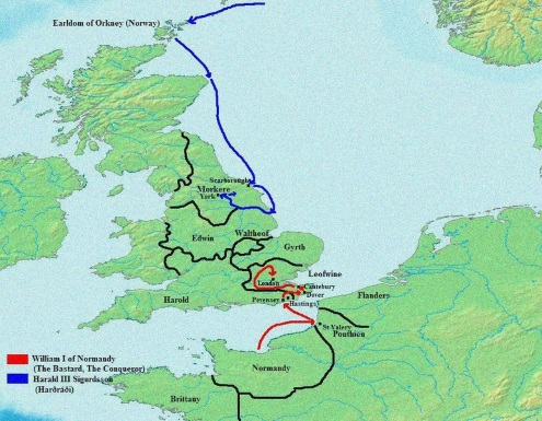 Map showing the invasions of England in 1066