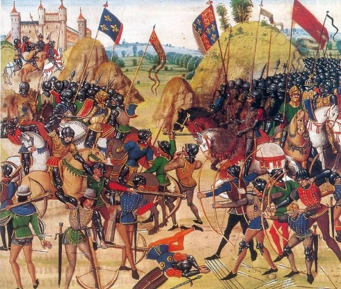 Medieval warfare (from Froissart's Battle of Crécy)
