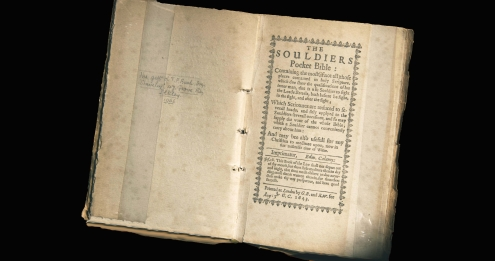 The Bible issued to Parliamentary soldiers during the English Civil War